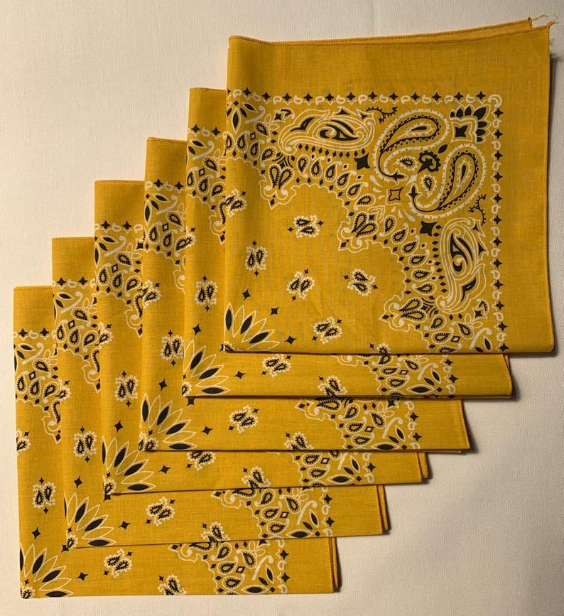 "Gold Paisley Bandanas - USA Made (6 Pk) 22"" x 22"