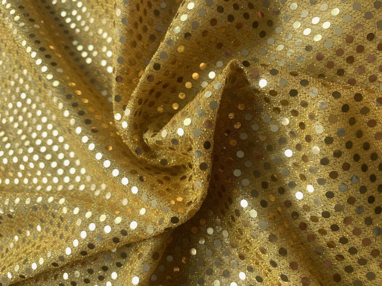 "44/45"" Gold Dot Sequin Faric By The Yard"