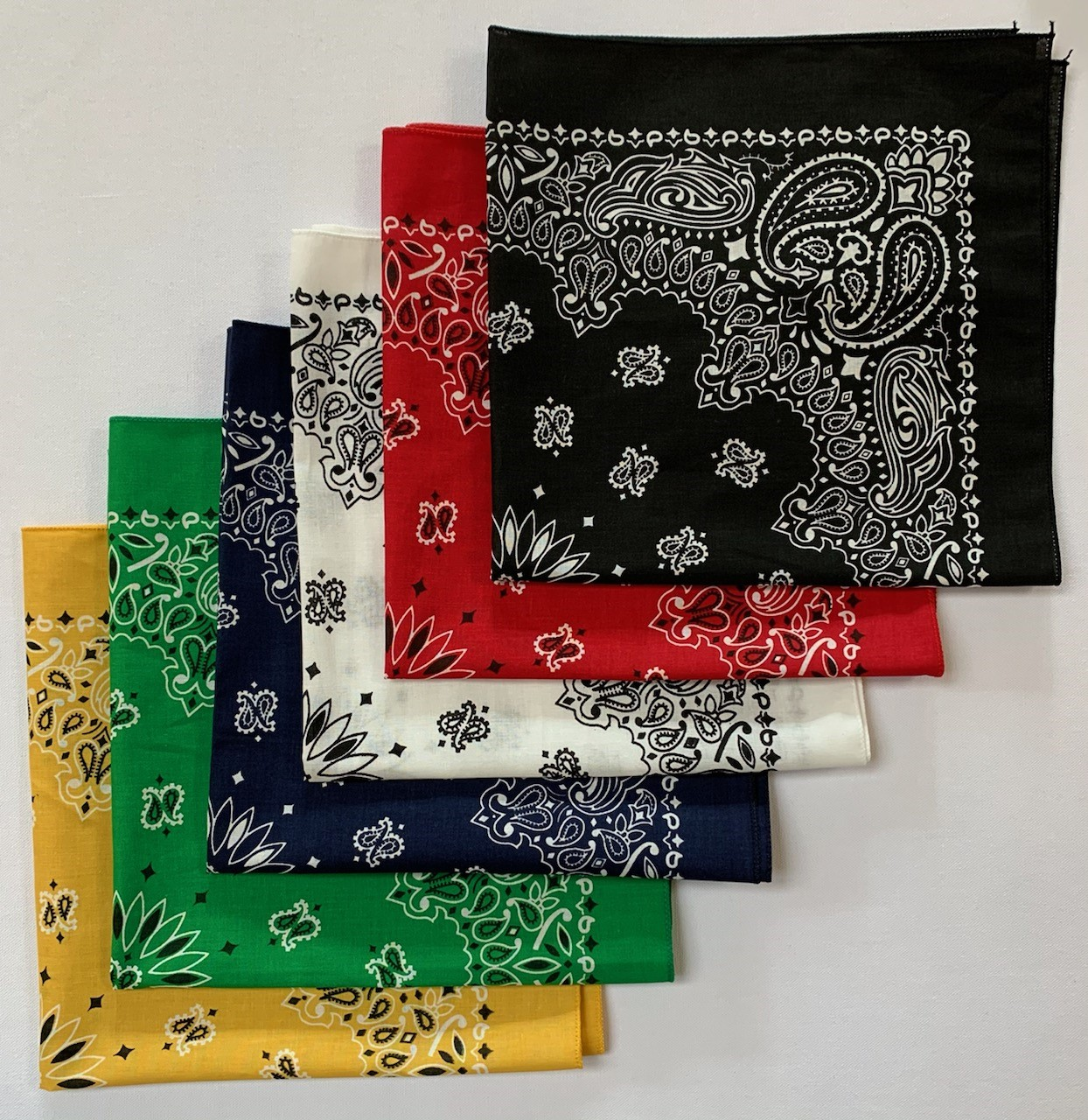 "Assorted Paisley Bandanas Made In USA 22"" x 22"" - 6 Pack Variety"