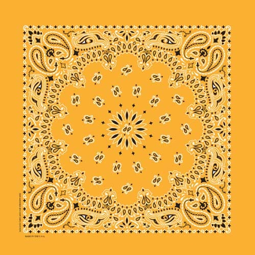 "Gold Paisley Bandanas - USA Made (12 Pk) 22"" x 22"