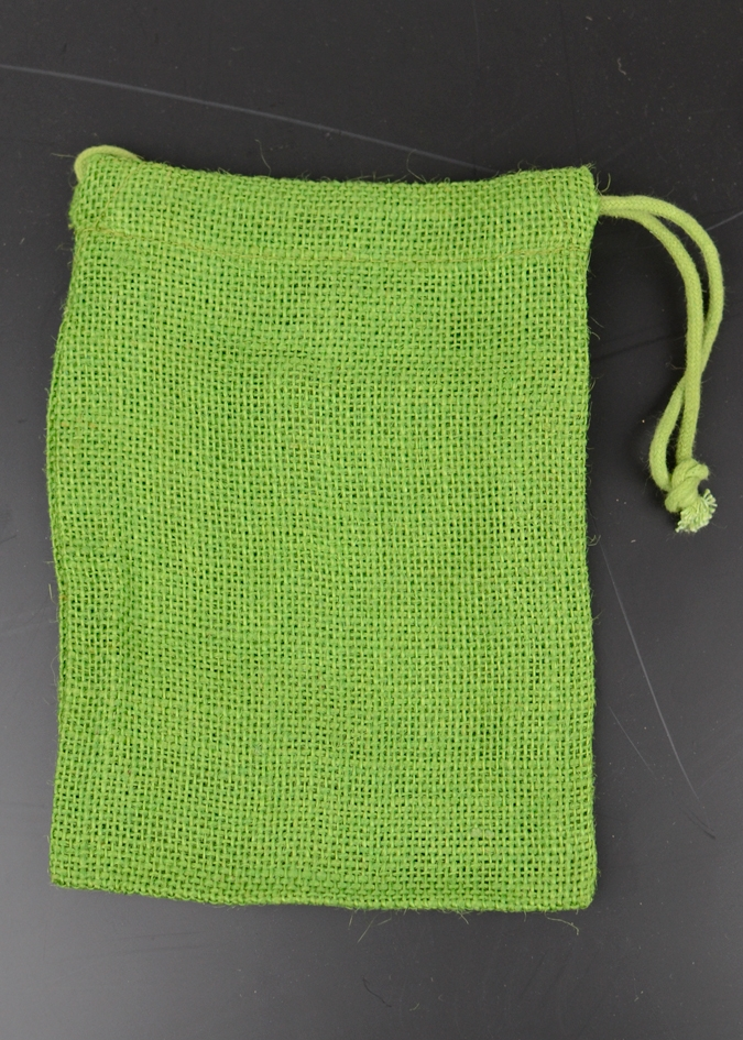 "3"" x 5"" Emerald Green Burlap Bag with Drawstring (12/pk)"