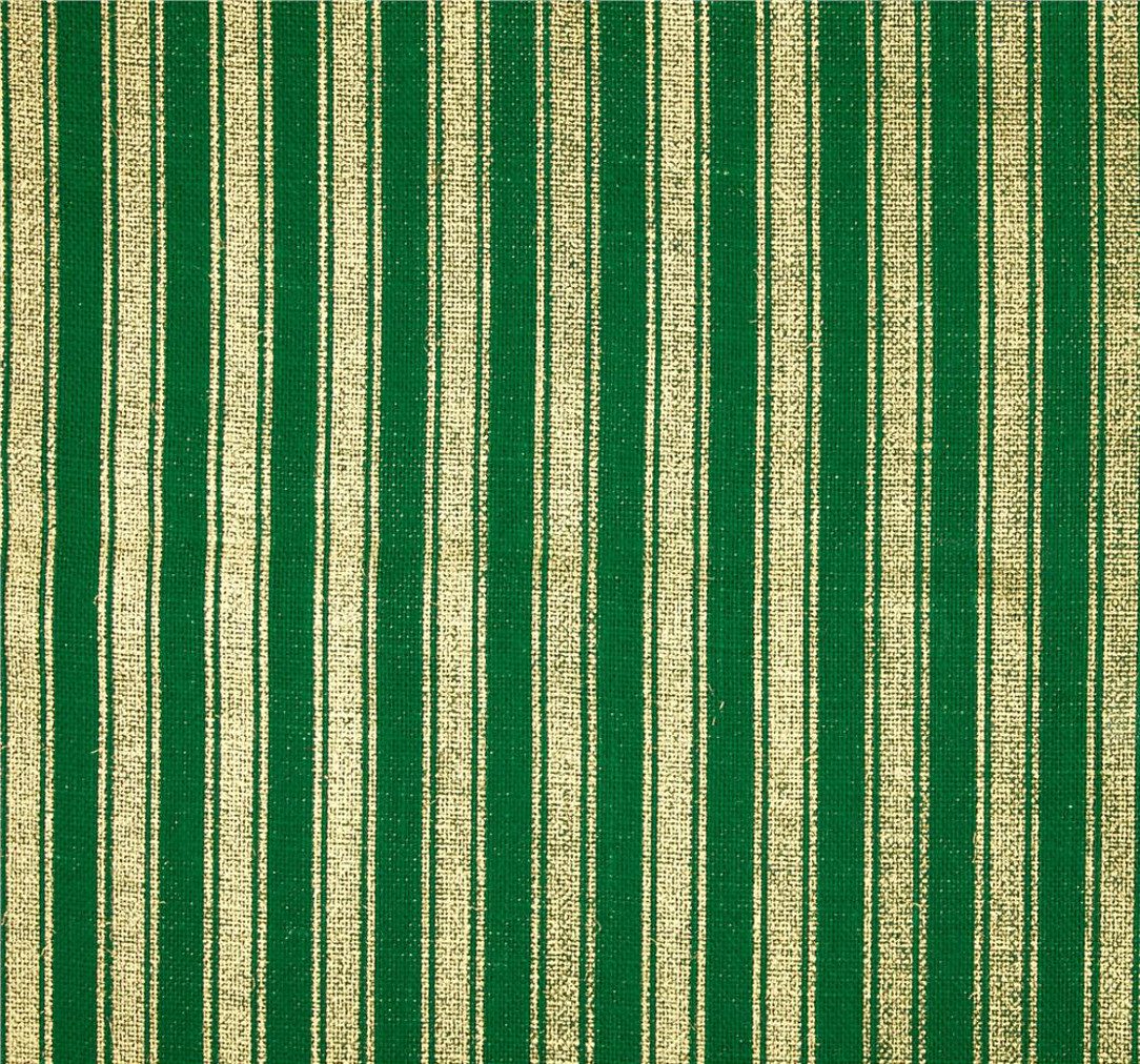 "60"" Metallic Foil Stripe Burlap Emerald/Gold By The Yard"