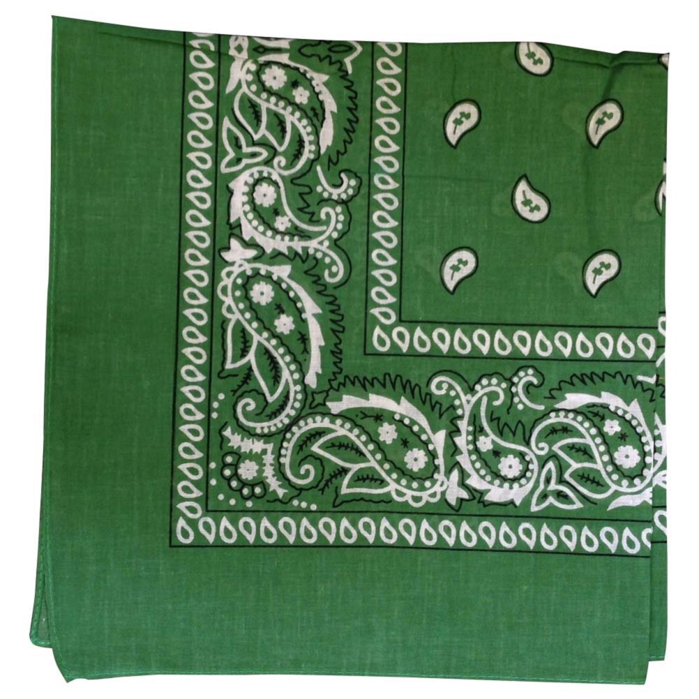 "Green Paisley Bandana - 22"" x 22"" (100% cotton)"