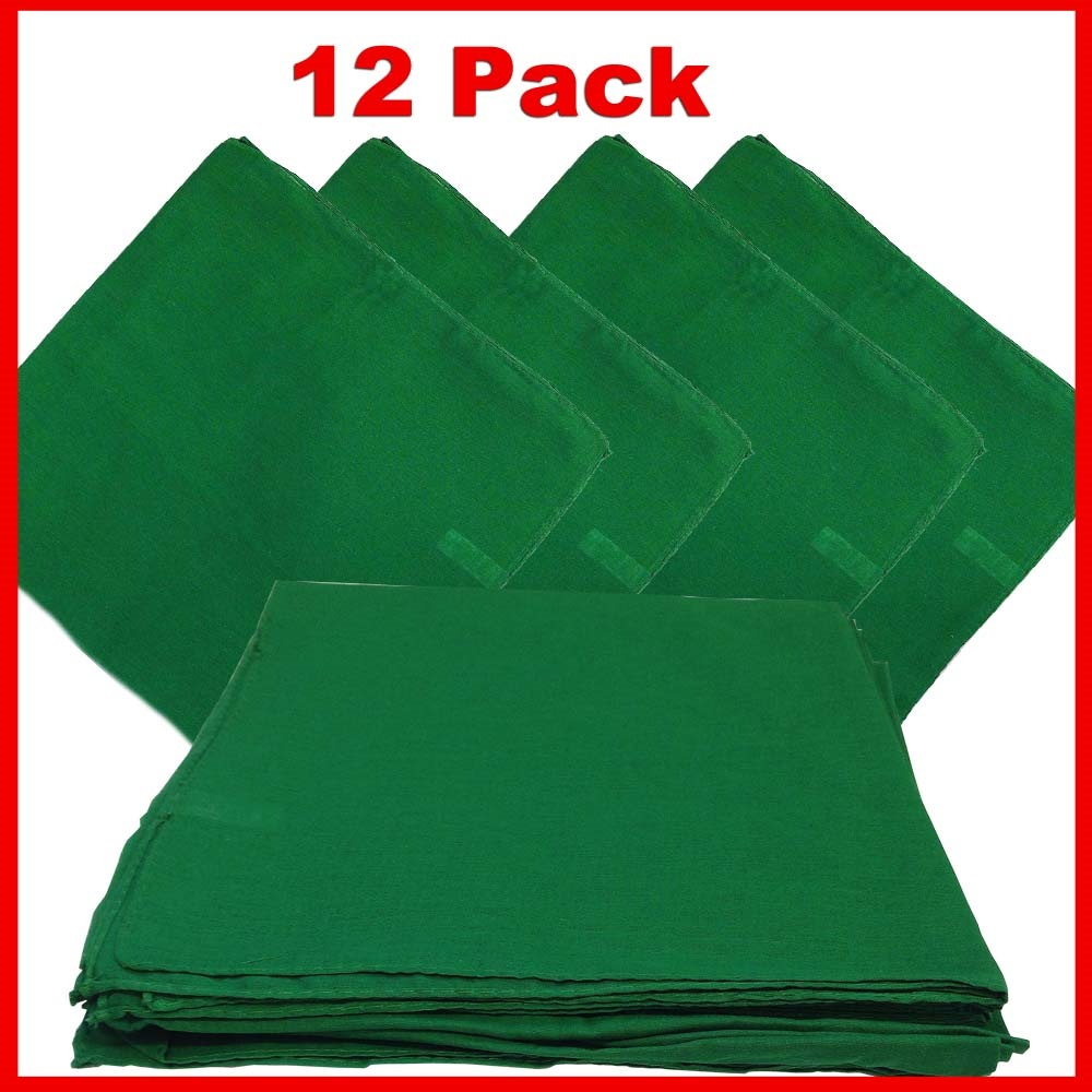 "14"" x 14"" Green Bandanas Solid Color (12 Pk) 100% Cotton"