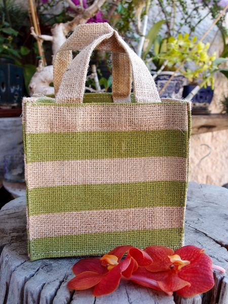 "Jute Plant Tote Bag 6""W x 6""H x 6"" - Green Stripes"