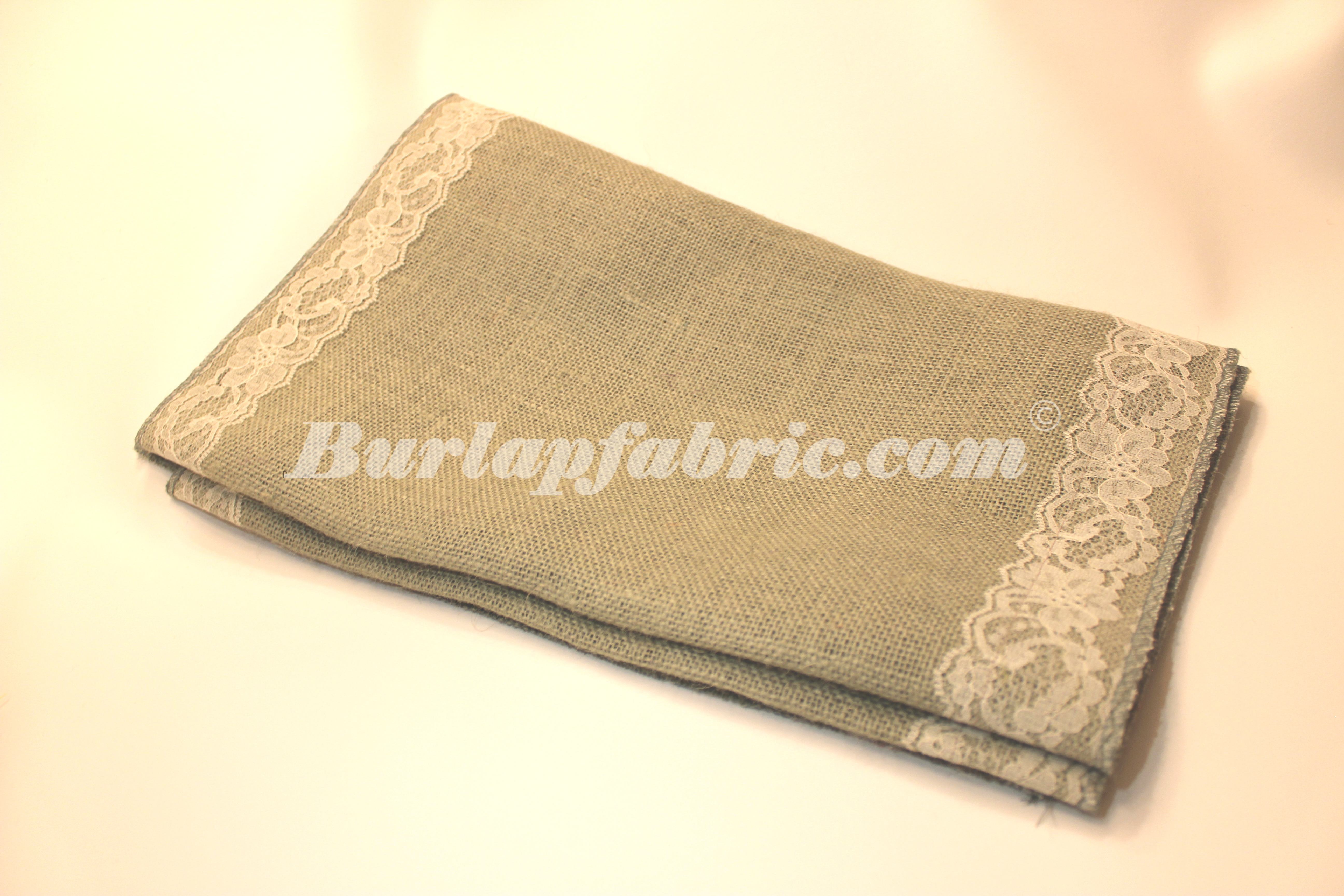 "14"" Ash Grey Burlap Runner with 2"" Ivory Lace Borders"
