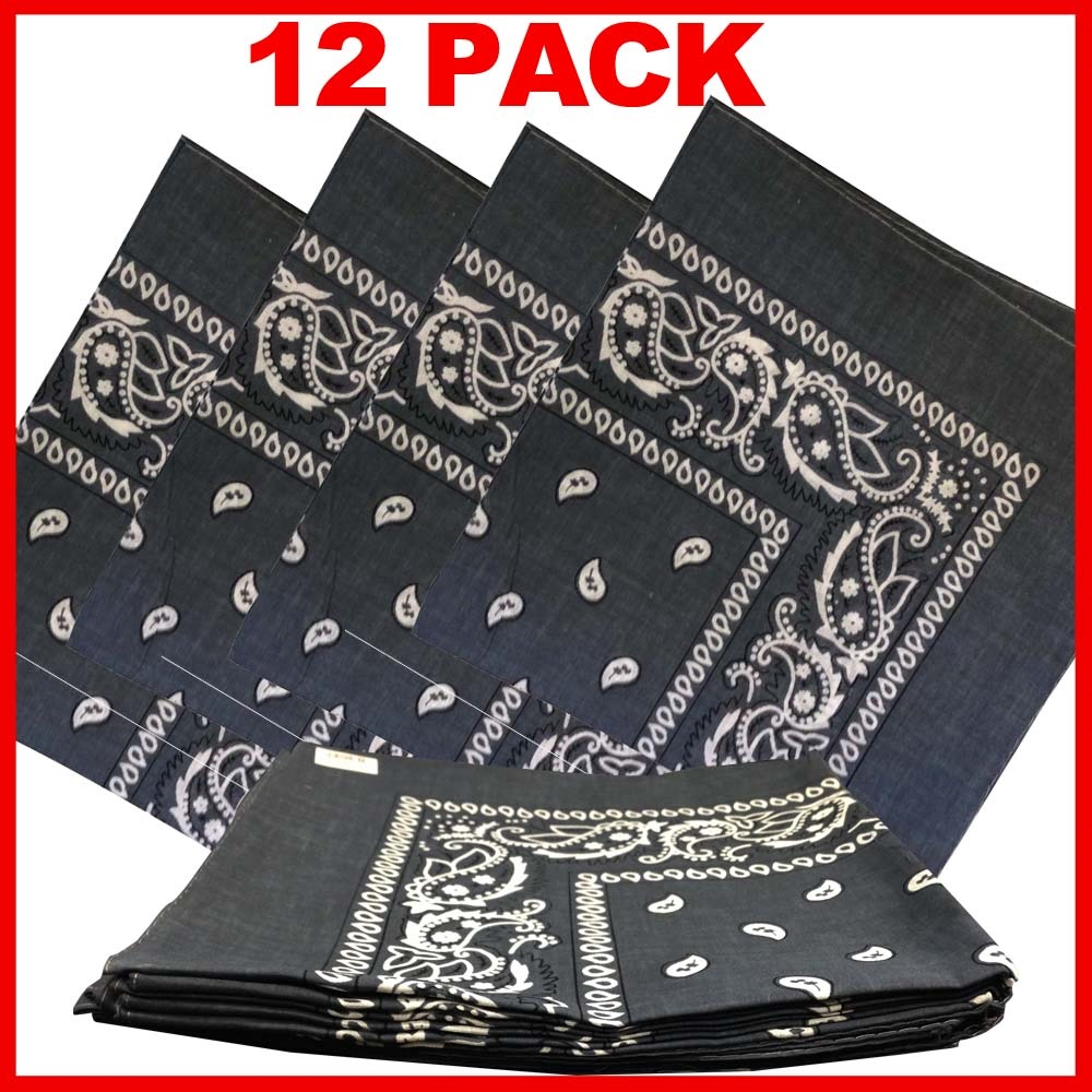 "Grey Paisely Bandanas (12 Pack) 22"" x 22"" 100% Cotton"