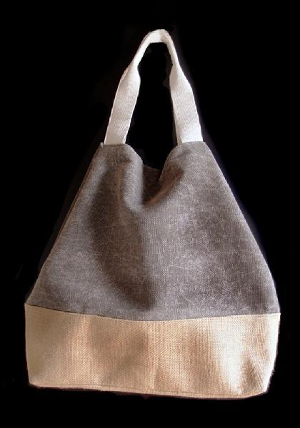 "Washed Canvas Grey Tote Bag With Burlap - 14""W x 16""H x 5 ½""D"