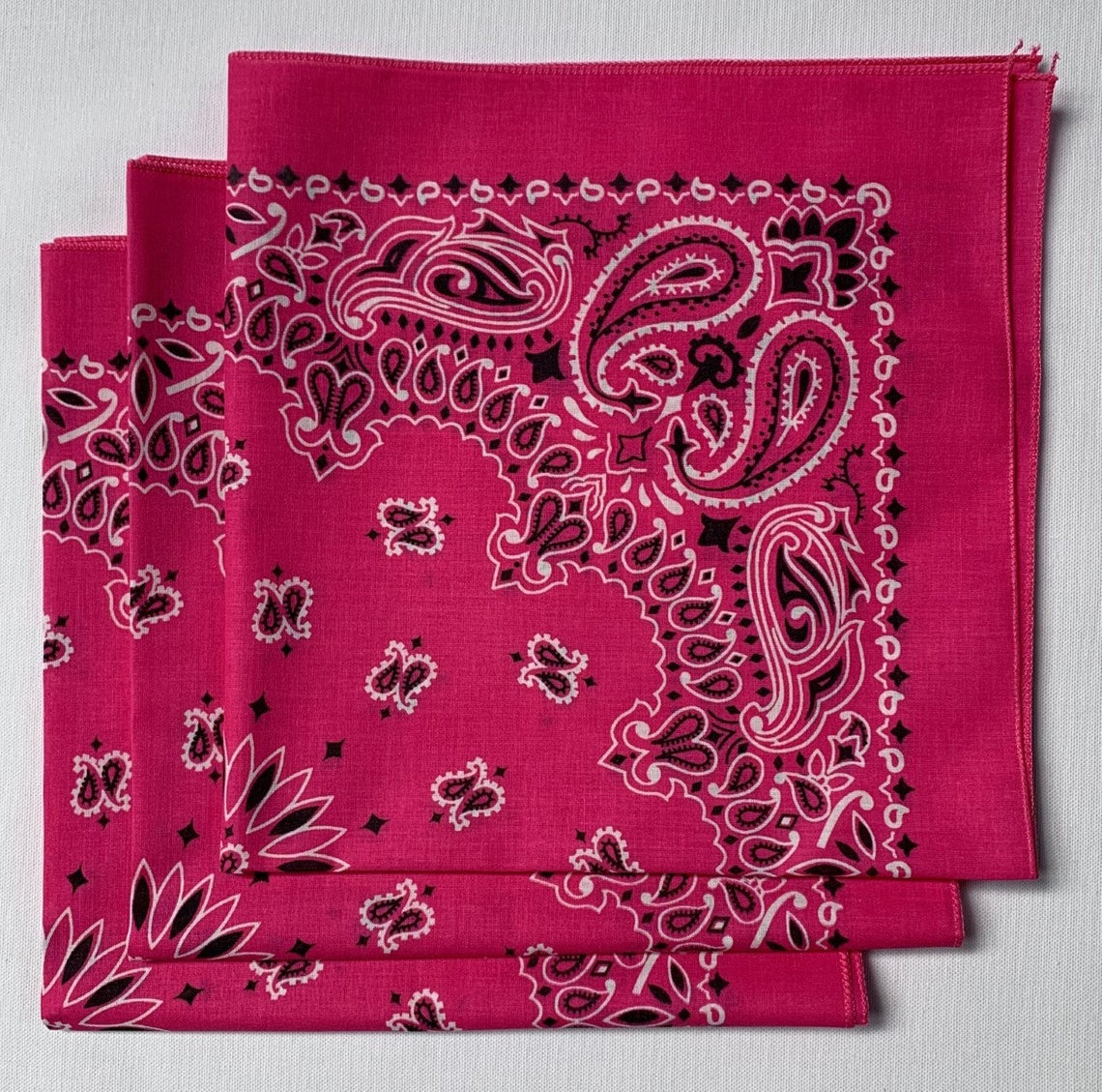 "Hot Pink Paisley Bandanas - Made In The USA (3 Pk) 22"" x 22"""