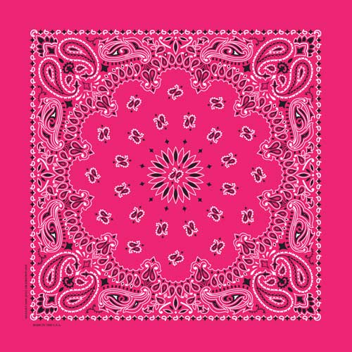 "Hot Pink Paisley Bandanas - USA Made (12 Pk) 22"" x 22"""