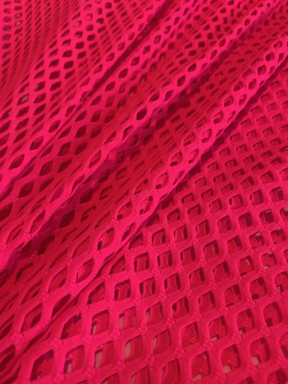 "58"" Hot Pink Poly Mesh Fabric BTY 75% Poly 17% Nylon 8% Spandex"