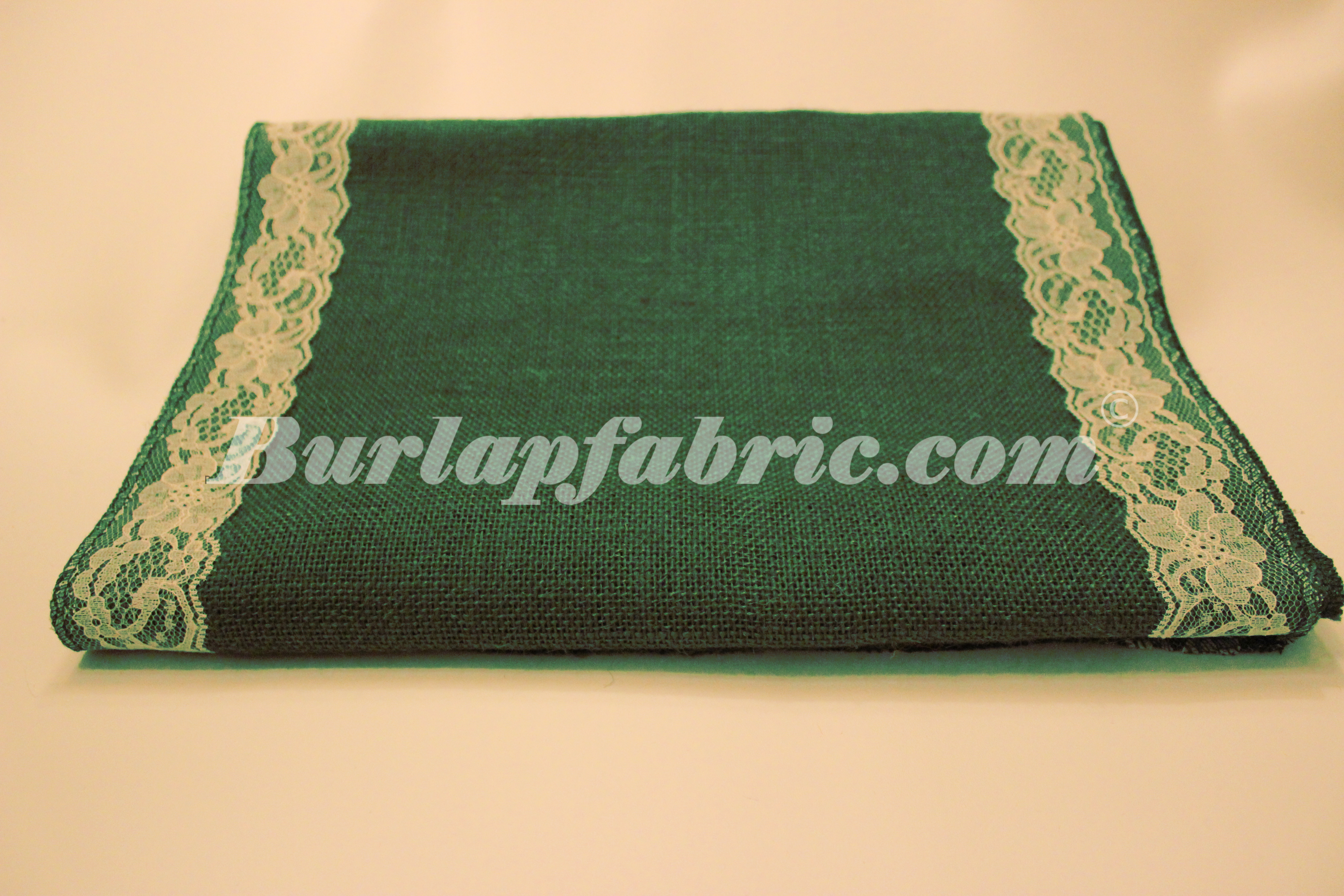 "14"" Hunter Green Burlap Runner with 2"" Ivory Lace Borders"