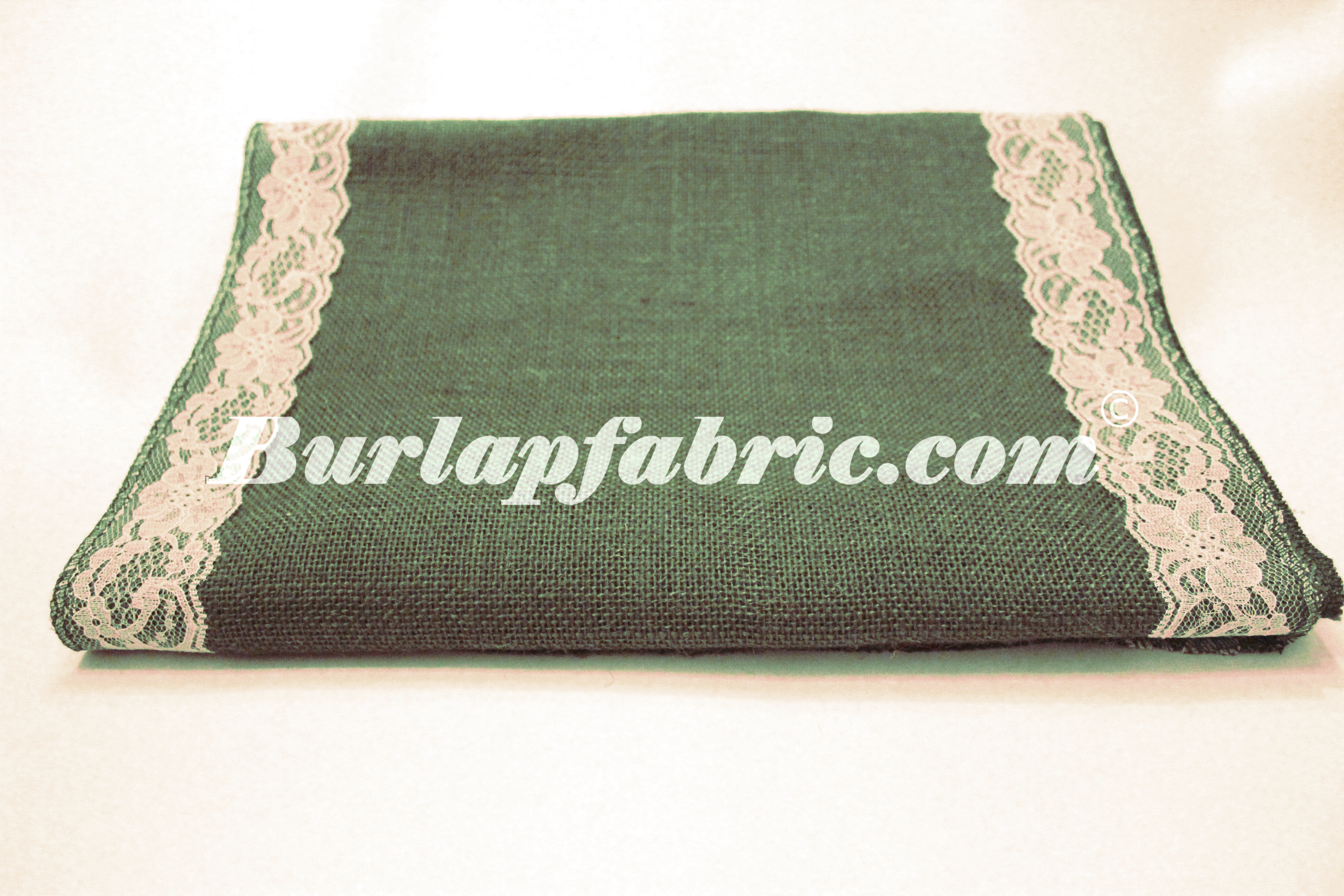 "14"" Hunter Green Burlap Runner with 2"" White Lace Borders"