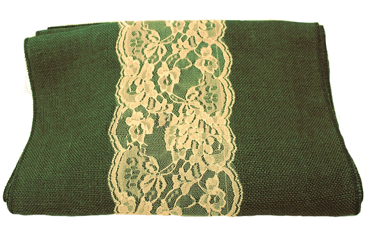 "14"" Hunter Green Burlap Runner with 6"" Ivory Lace"