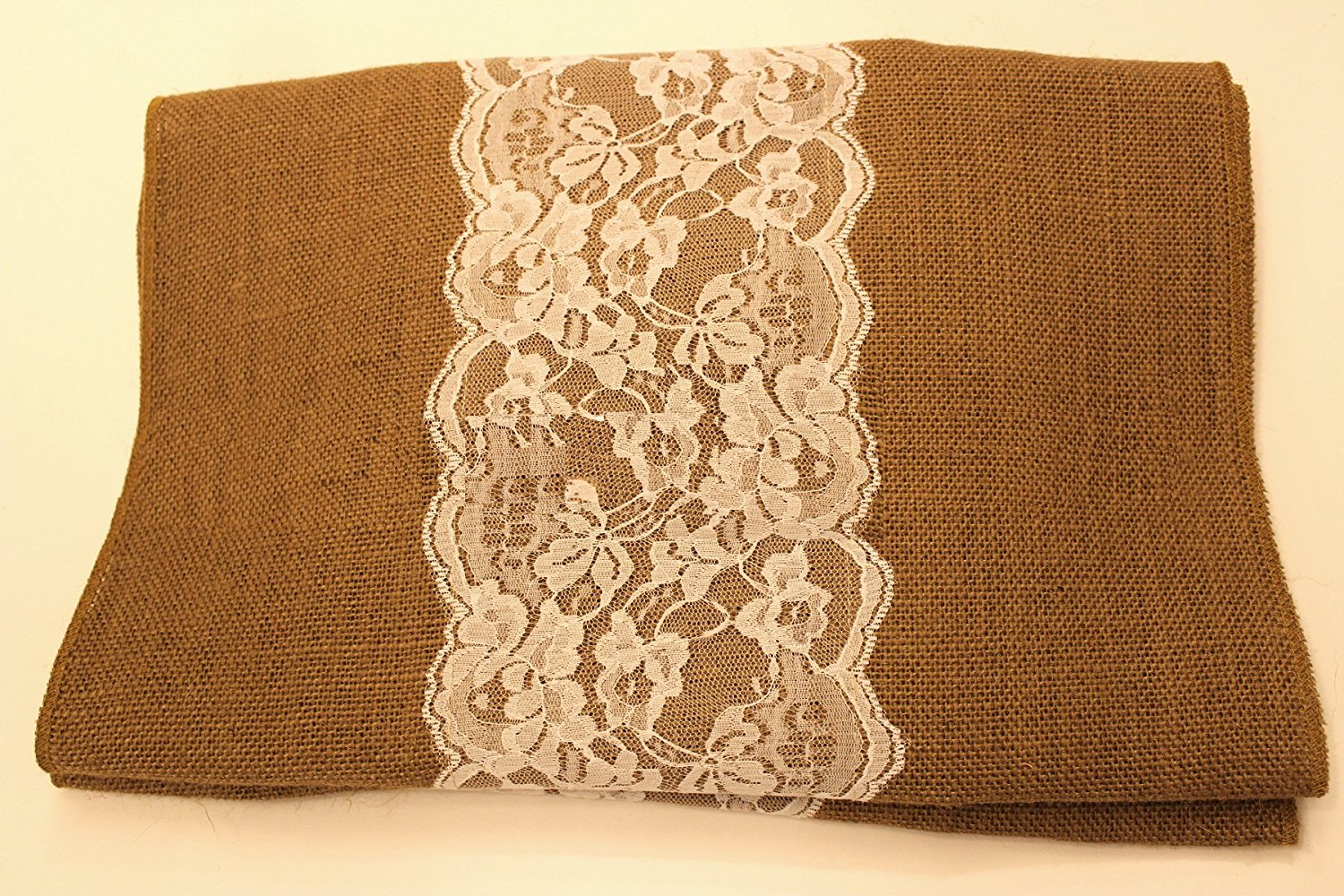 "14"" Idaho Burlap Runner with 6"" White Lace"