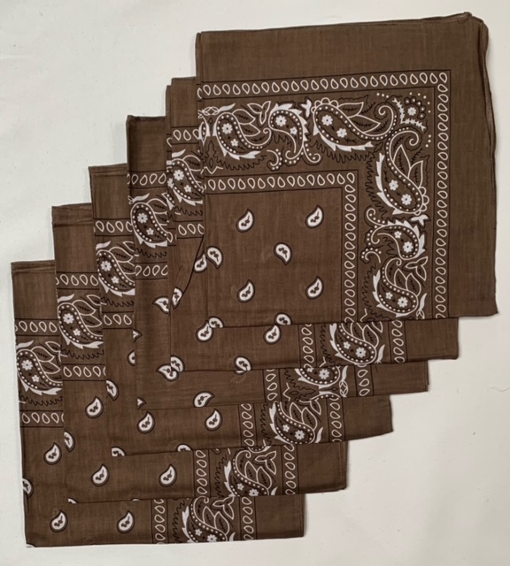 "Brown Paisley Bandanas (6 Pack) 22"" X 22"" 100% Cotton"