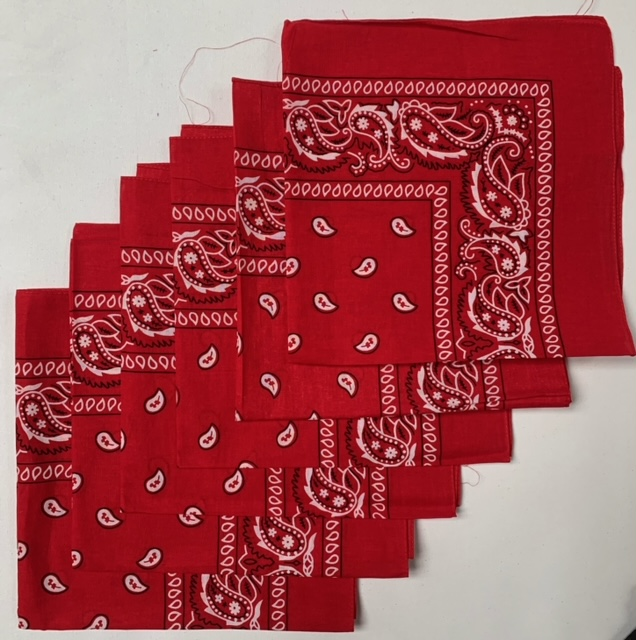 "Red Paisley Bandanas (6 Pack) 22"" x 22"" 100% Cotton"