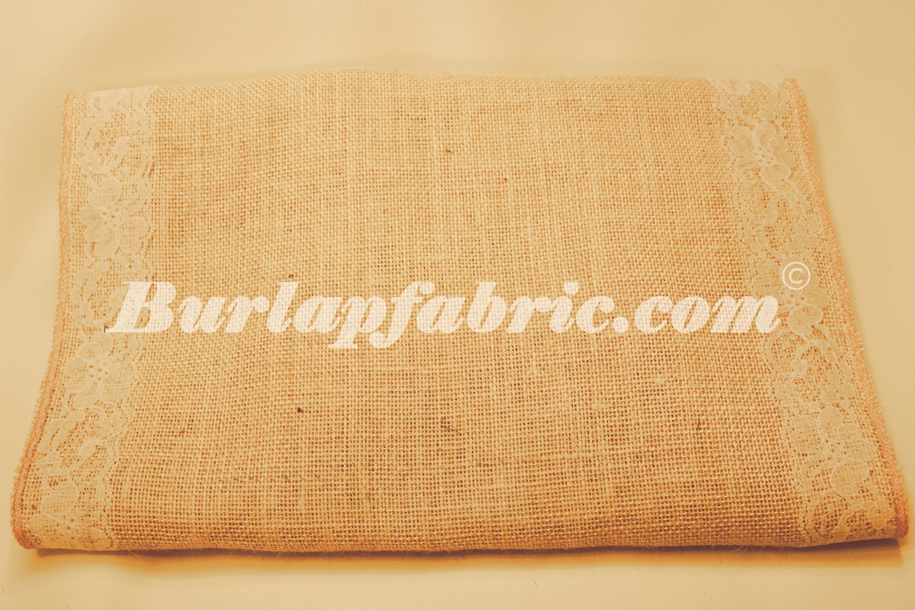 "14"" Ivory Burlap Runner with 2"" White Lace Borders"