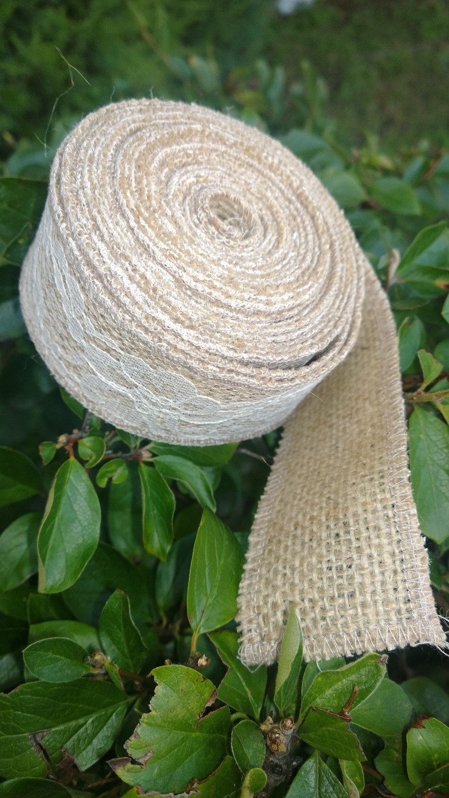 "2"" Natural Burlap Ribbon w/2"" Ivory Lace 5 Yards - Made in USA"