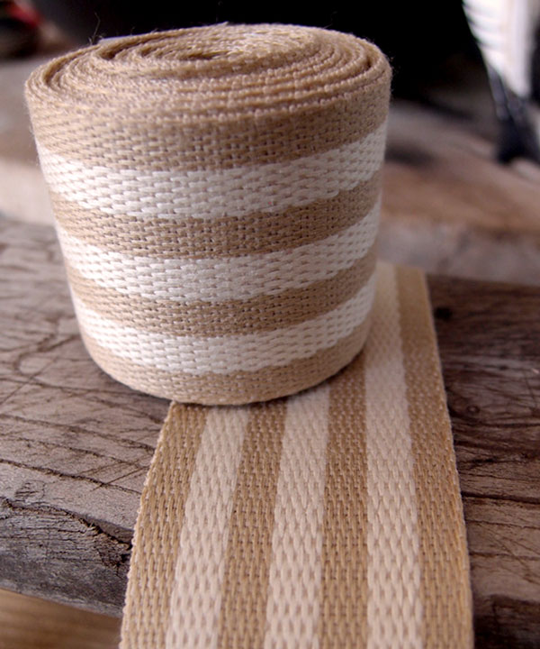 "Ivory Stripe Faux Burlap Ribbon 1.5"" x 10 Yards"
