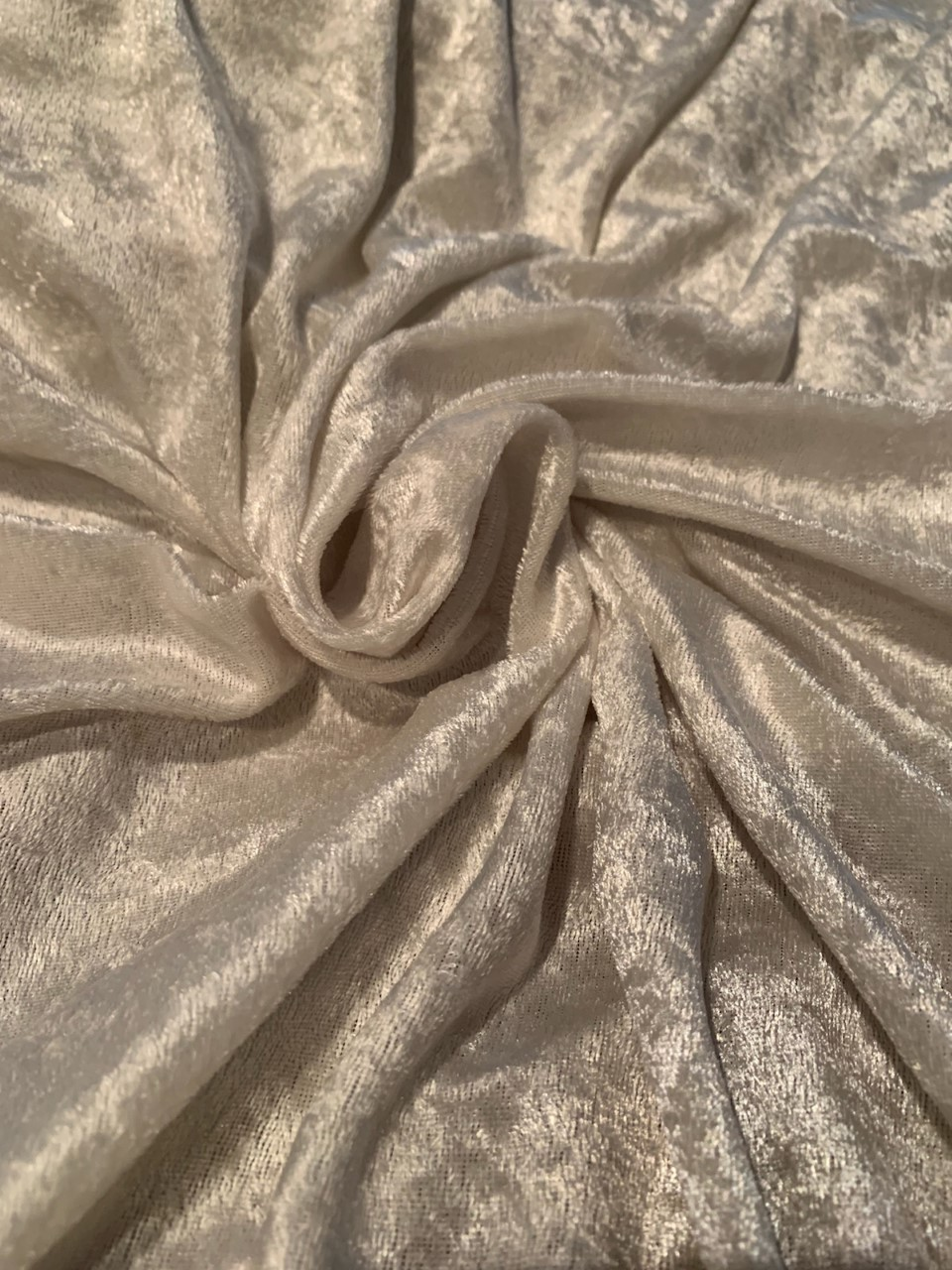 "58"" Ivory Stretch Velour Fabric - By The Yard"