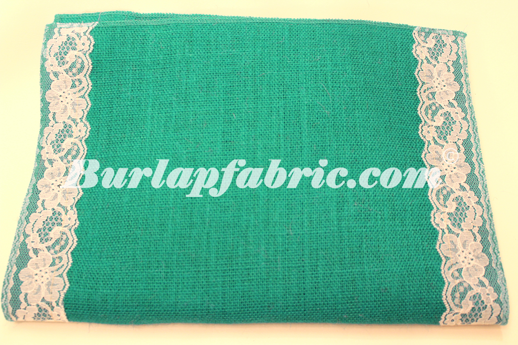 "14"" Jade Burlap Runner with 2"" White Lace Borders"
