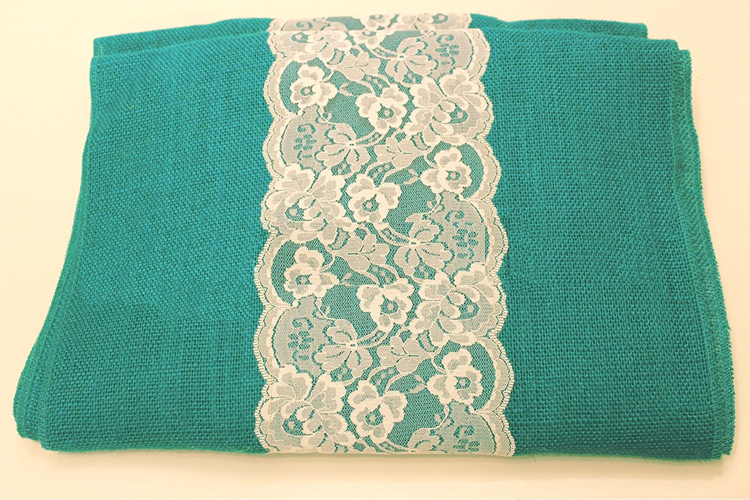 "14"" Jade Burlap Runner with 6"" White Lace"