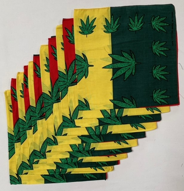 "Marijuana Bandanas Red/Yellow/Green 12 Pack 22"" - 100% Cotton"