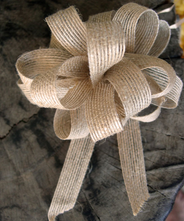 "4"" Jute Pull Bow 5/8"" x 18 loops (12 Pack)"