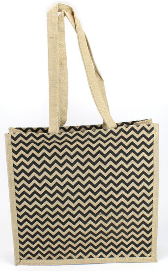 "Chevron Jute Tote Bag 16"" x5"" x16"" Natural/Black"