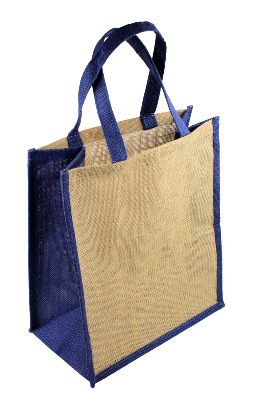 "12""W x 14""H x 7""D Jute Tote With Navy Blue Gusset & Handles"