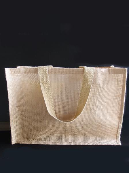 "Large Burlap Tote Shopping Bag w/Strap Handles 20"" x 13.5"" x 6"" - Click Image to Close"