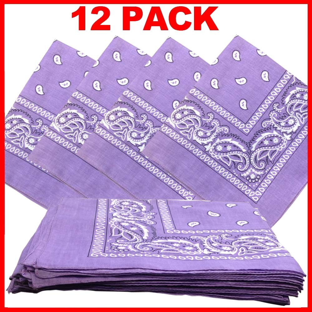 "Lavender Paisley Bandana 22"" x 22"" 100% Cotton - Click Image to Close"