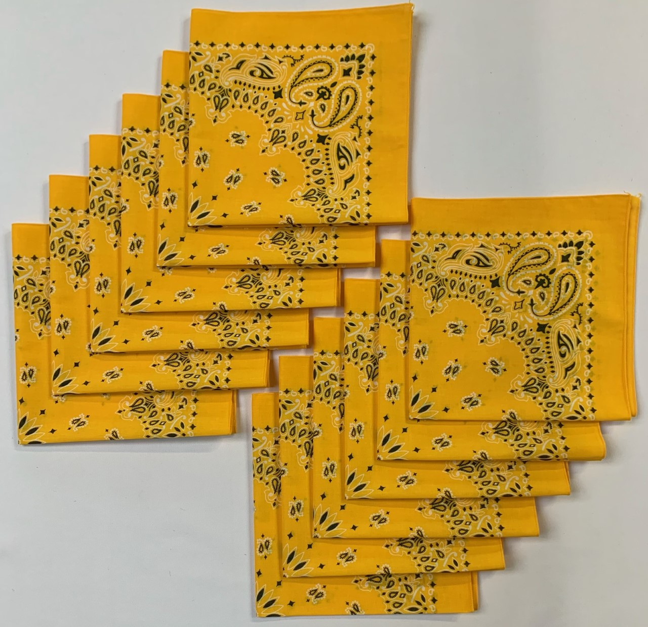 "Made in the USA Lemon Paisley Bandanas 12 Pk, 22 x 22"" Cotton"