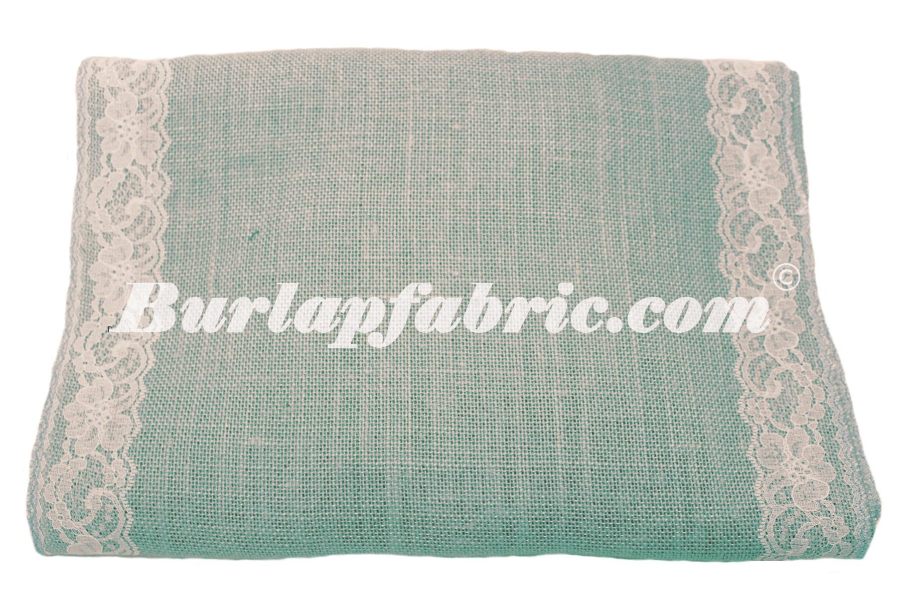 "14"" Light Blue Burlap Runner with 2"" White Lace Borders"