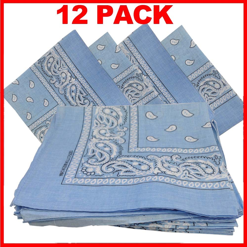 "Light Blue Paisley Bandana (100% Cotton) - 22"" x 22"" 12 Pack"