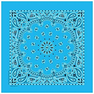 "Light Blue Paisley Bandanas - USA Made (6 Pk) 22"" x 22"""