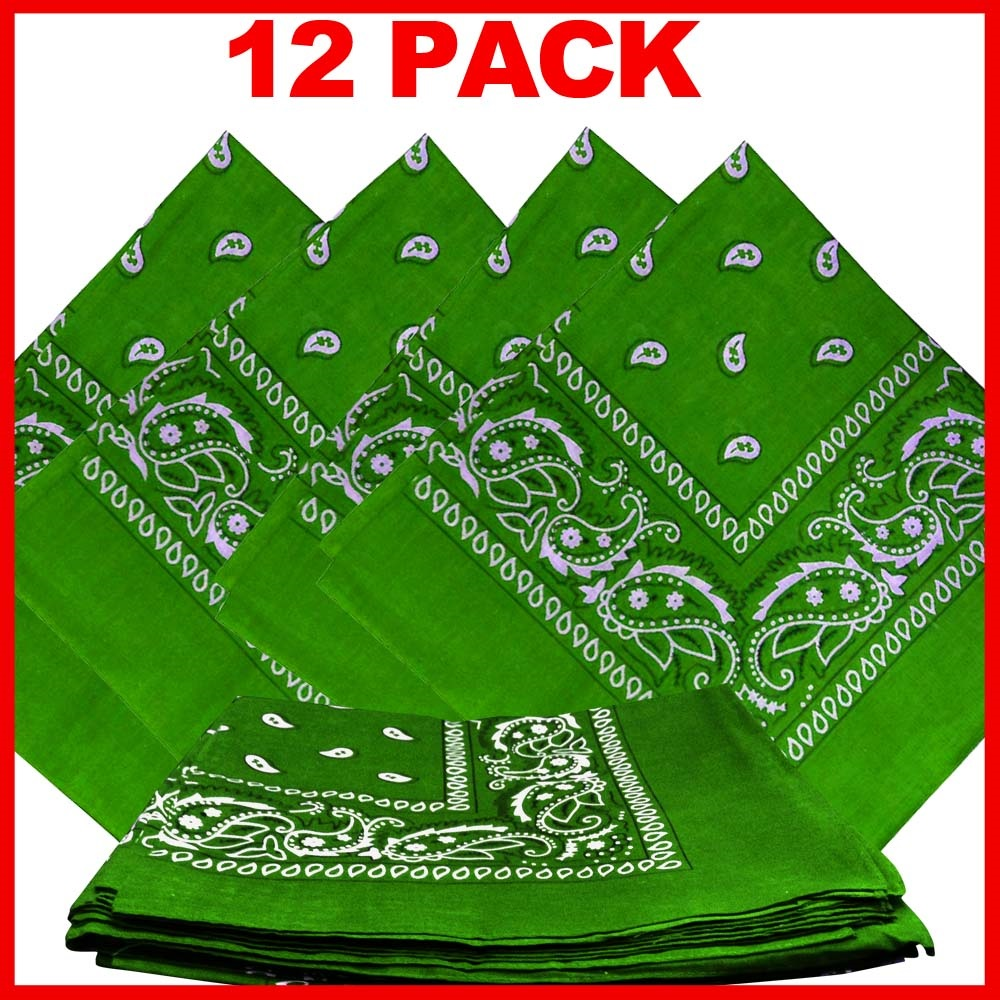 "Light Green Paisley Bandanas (12 Pk) 22"" x 22"" 100% Cotton"
