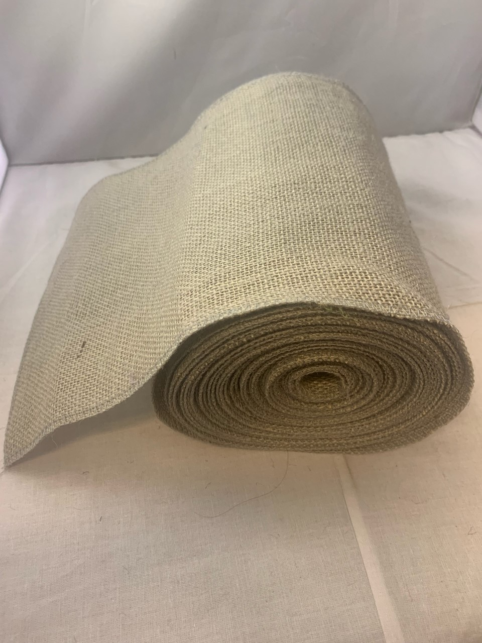 "9"" Light Grey Burlap Ribbon (Seamed eges) 10 Yards USA MADE"