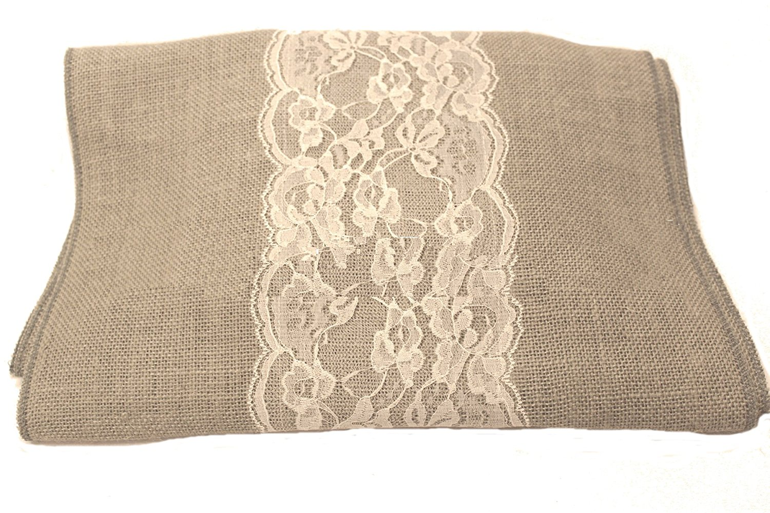 "14"" Ash Grey Burlap Runner with 6"" Ivory Lace"
