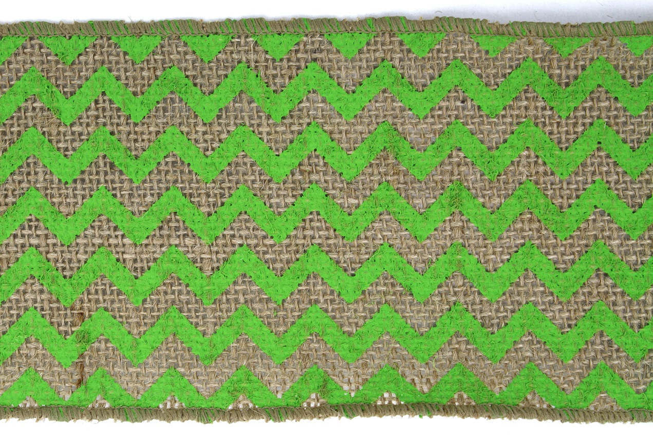 "4"" Lime Chevron Burlap - 10 Yards"