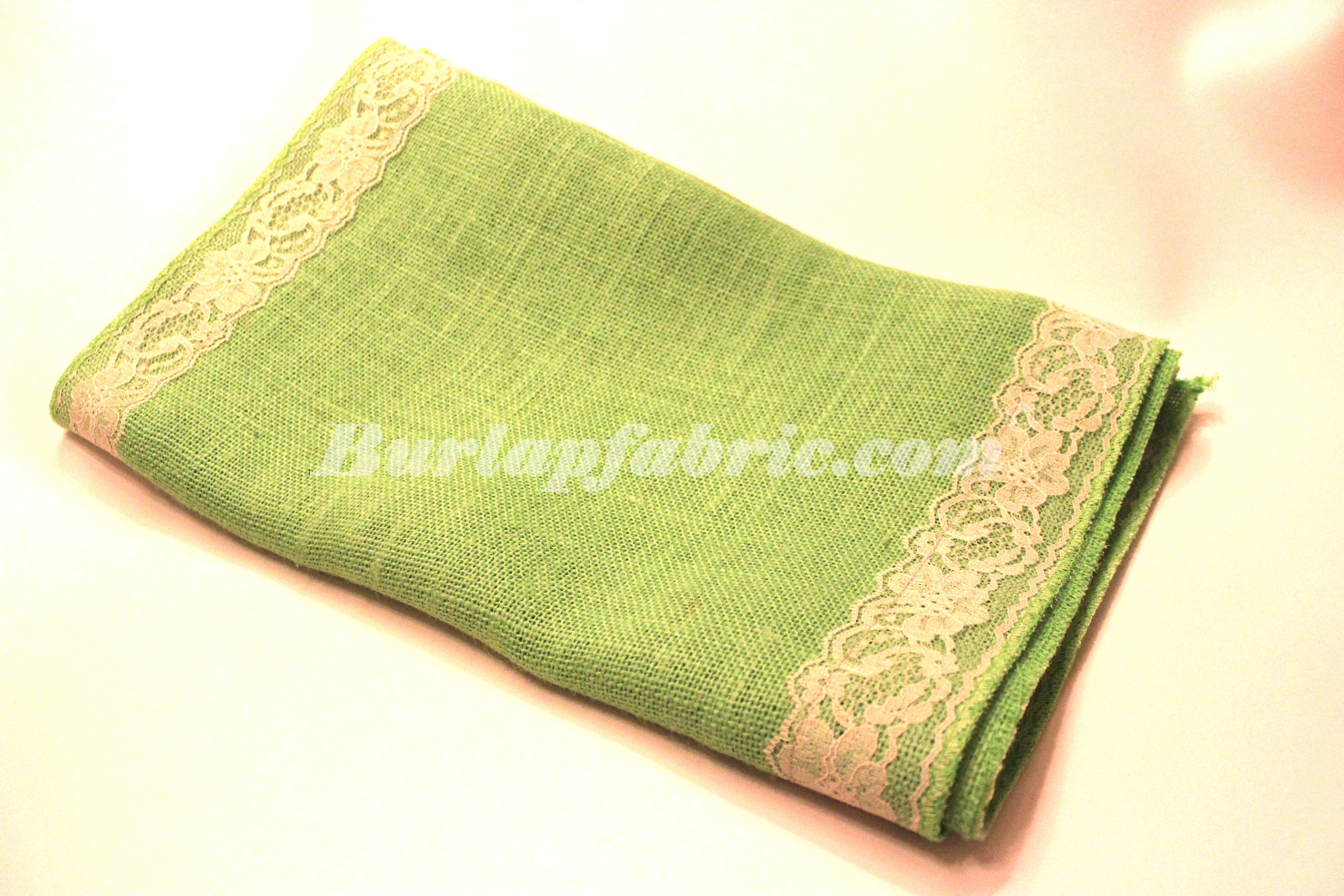 "14"" Lime Burlap Runner with 2"" Ivory Lace Borders"