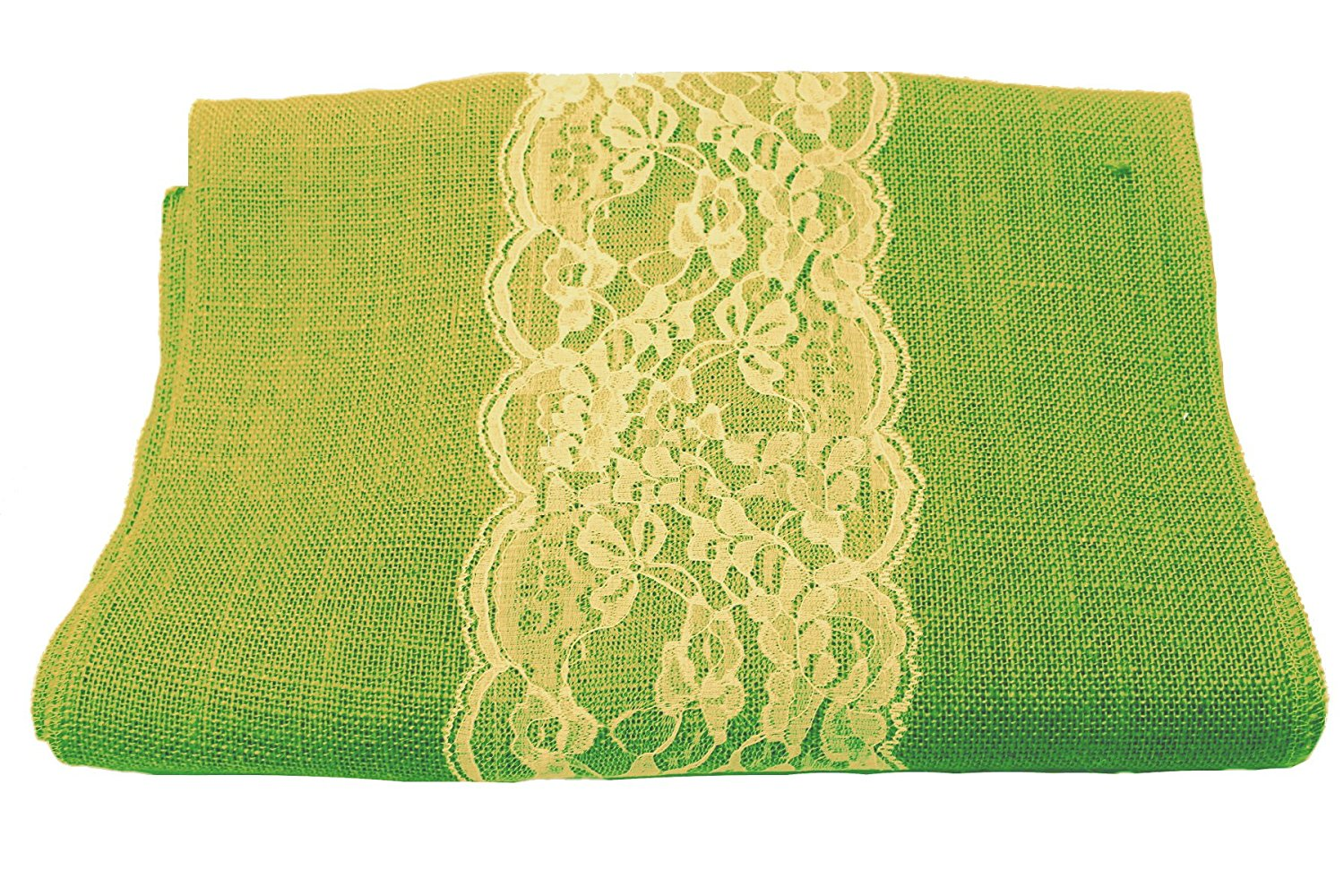 "14"" Lime Burlap Runner with 6"" Ivory Lace - Click Image to Close"