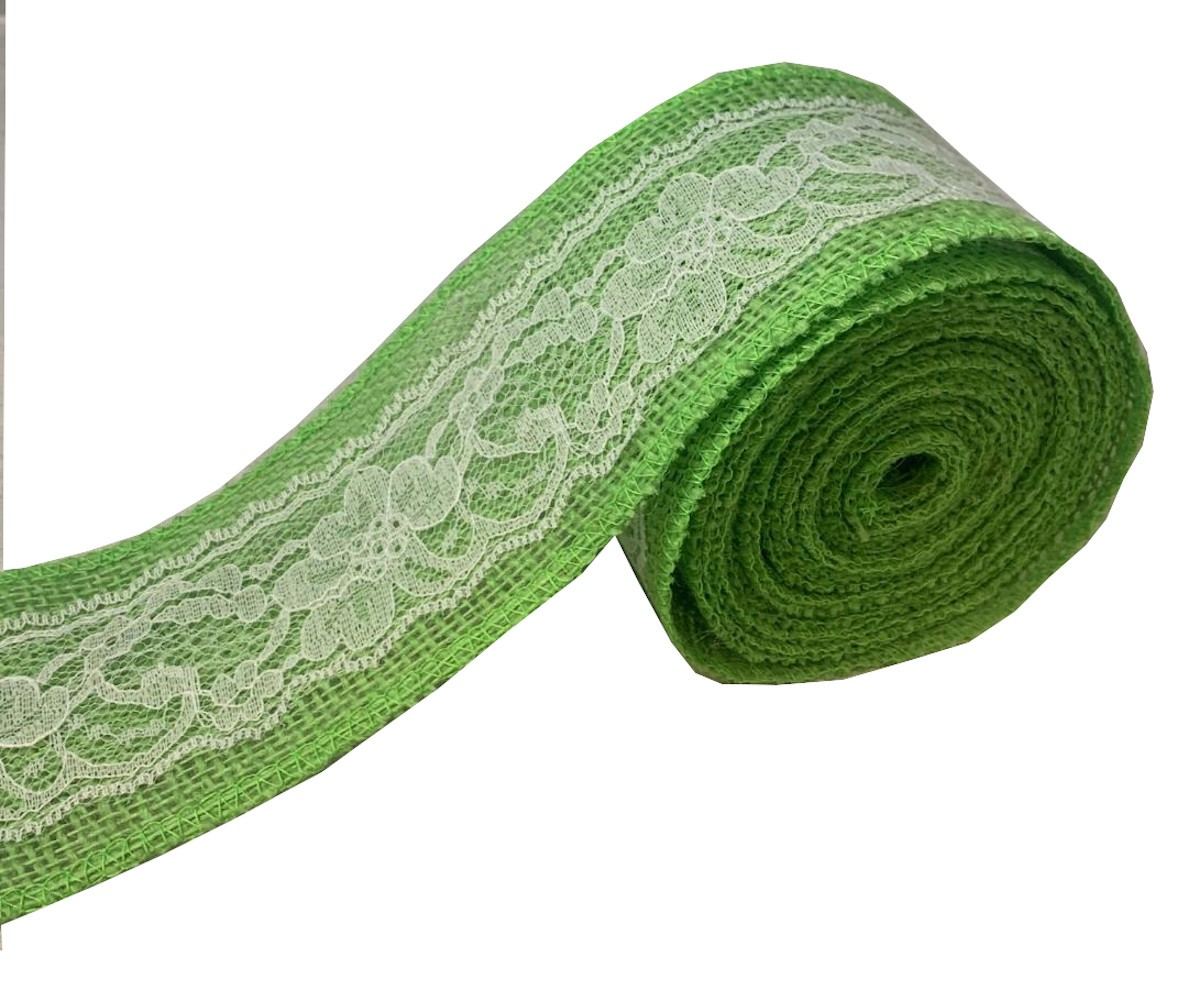"3"" Lime Burlap Ribbon With White Lace 5 Yard Roll - Made in USA"