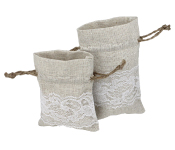 Linen Drawstring Bags with Lace
