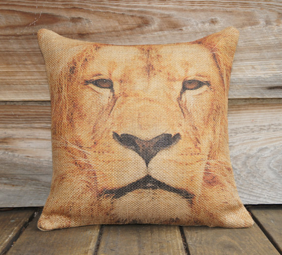 Lion Burlap Pillow Case 18 x 18