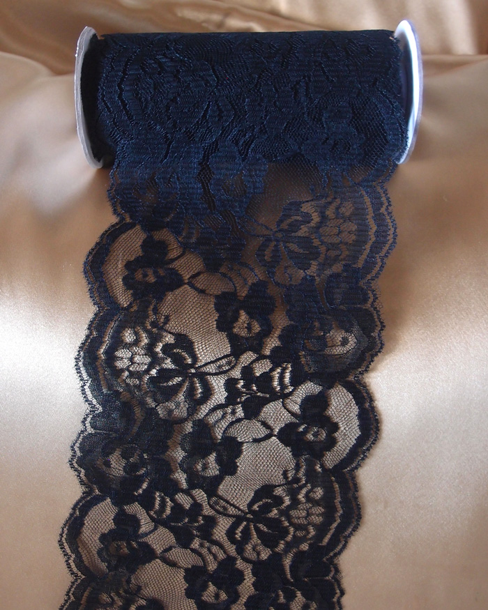 "6"" x 10 Yd Black Lace Ribbon"