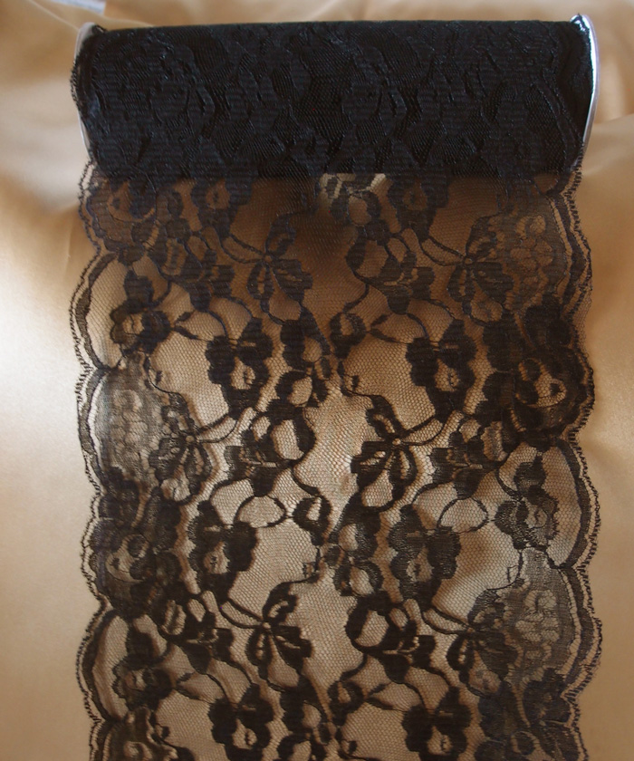 "9"" x 10 Yd Black Lace Ribbon"