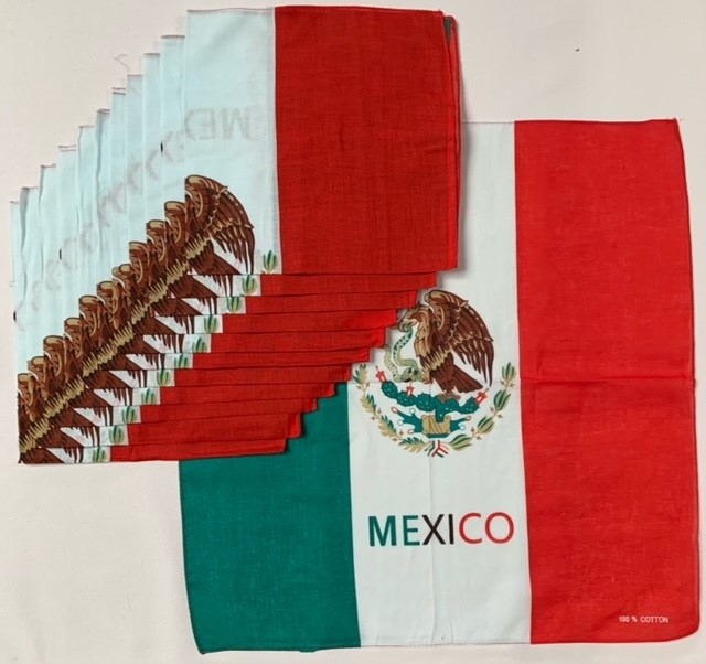 "Mexican Flag Bandanas - 12 Pack 22"" x 22"" 100% Cotton"