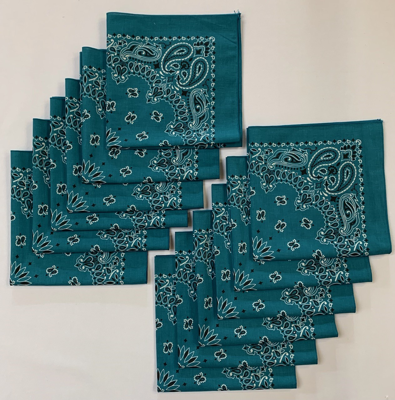 "Made in the USA Mirage Paisley Bandanas 12 Pk, 22"" x 22"" Cotton"